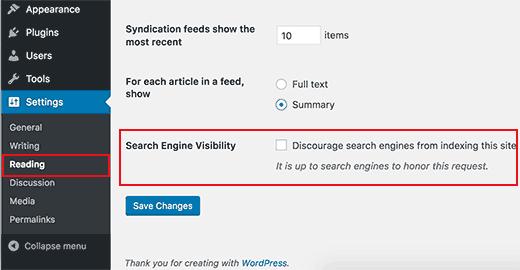 WordPress'te arama motoru görünürlüğü ayarları