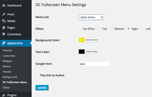 Fullscreen menu settings