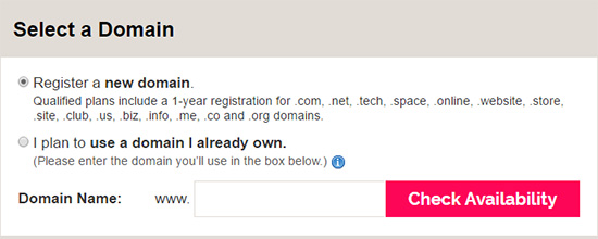 Select your iPage domain registration