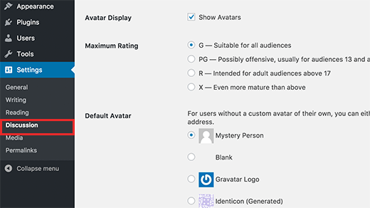 Gravatar settings in WordPress