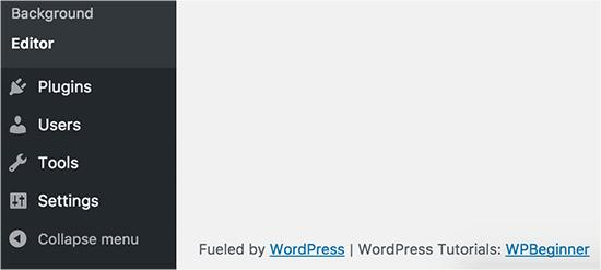 Custom footer in WordPress admin area
