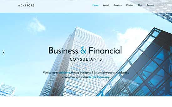 29 best corporate wordpress themes for your business 2017 the advisors is a corporate wordpress theme suitable for consultants and financial websites it features a beautiful home page slider with tons of friedricerecipe Image collections