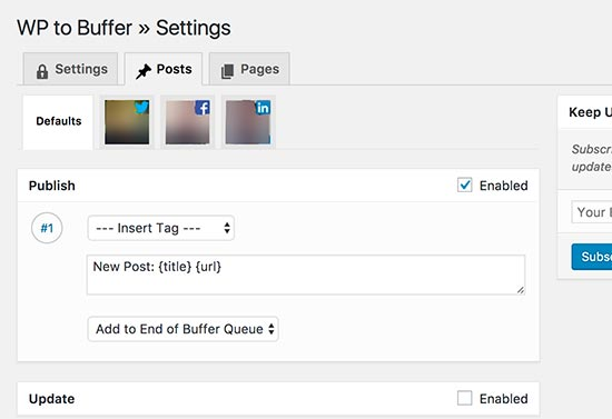 buffer posts settings
