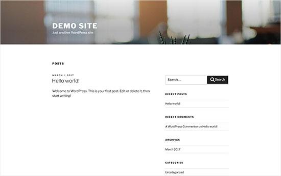 tema básico de una instalación WordPress