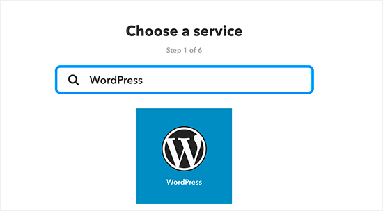 Select WordPress as service