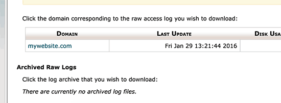 Download access log file