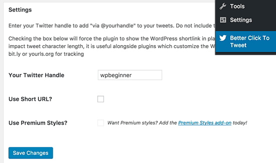 Better Click to Tweet plugin settings