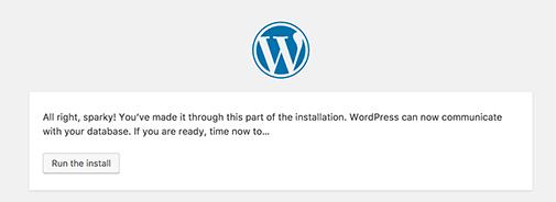 Run WordPress installation