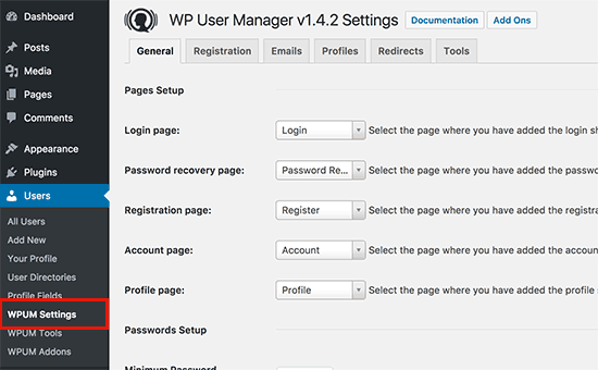 WP User Manager settings page
