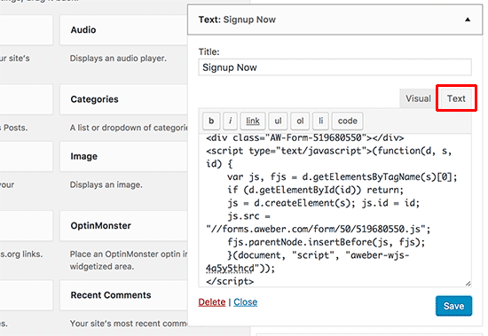 Pasting AWeber web form code in WordPress text widget