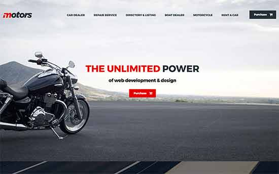 Motors Is A WordPress Theme Beautifully Designed For Car Dealerships Used Dealers And Other Automobile Businesses It Has 6 Ready Made Website