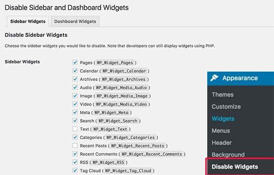 Disable widgets settings
