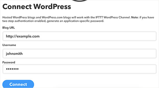 Connect WordPress