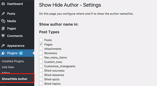Show/Hide Author settings