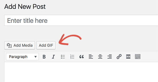 Add GIF button in WordPress post editor