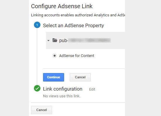 Selecteer en koppel de AdSense-eigenschap