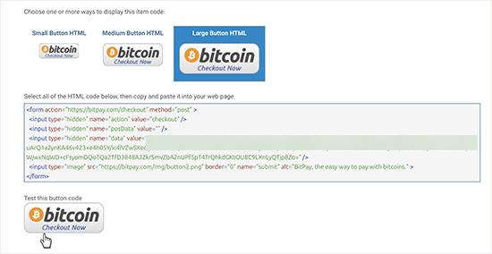 Selecteer knop en code