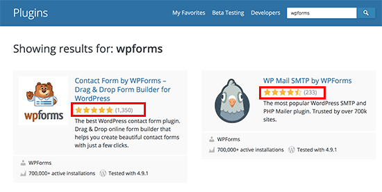 Review stars displayed in WordPress plugin search