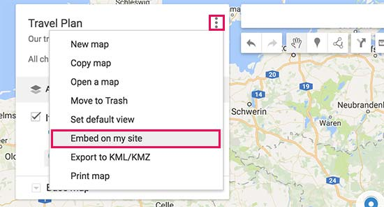 Embed map on site