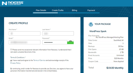 Creating your profile with Liquid Web