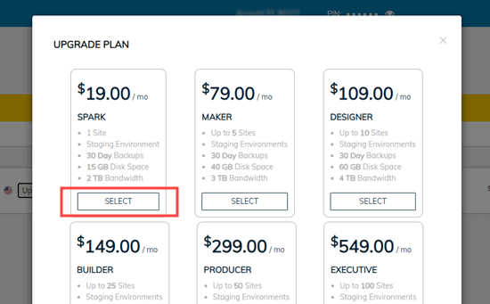 Select the plan that you want to upgrade, then scroll down and click the Upgrade button
