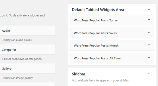 Tabbed widget area with all popular posts widgets