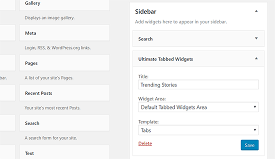Ultimate tabbed widget settings