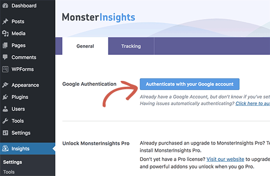 Authenticate Google Analytics
