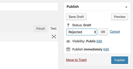 Trạng thái bài đăng tùy chỉnh được hiển thị trong bảng quản trị