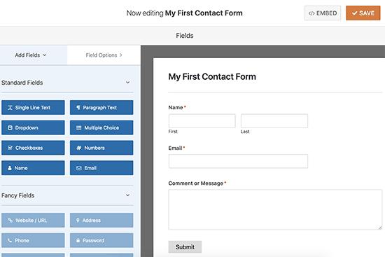 Editando seu formulário de contato