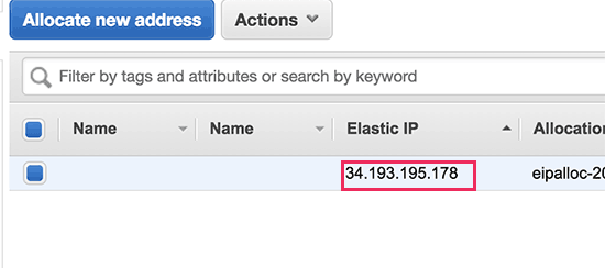 Copy your elastic IP