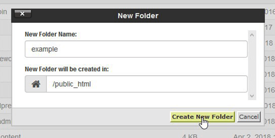 Create new folder in cPanel