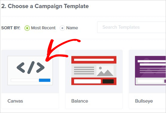 Select campaign template