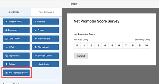 Add Net Promoter Score field