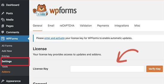 WPForms-licentie