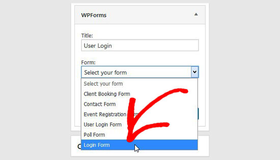 Select login form
