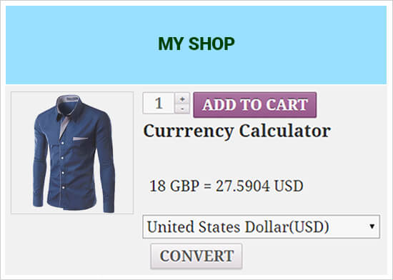 WooCommerce integration with currency calculator