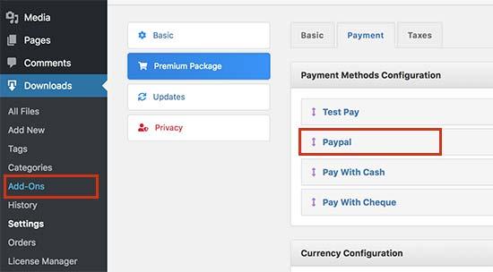 Configureer betalingsinstellingen