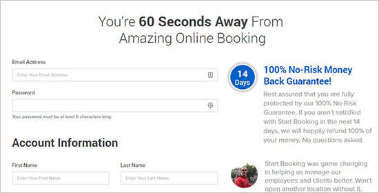 Create a new account on StartBooking