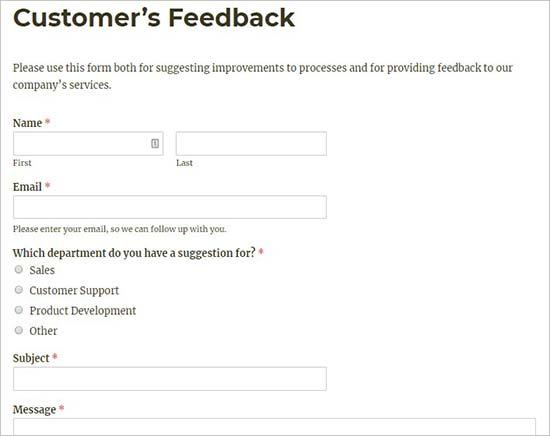 Klant feedbackformulier