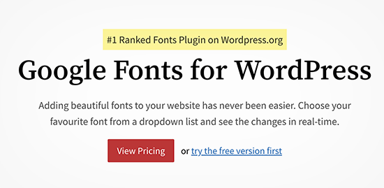 Google Fonts Plugin for WordPress