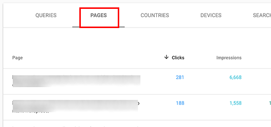 Pages in search performance
