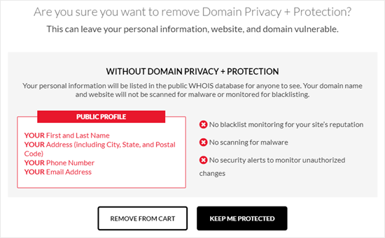 Warning from Domain.com about removing the domain privacy & protection