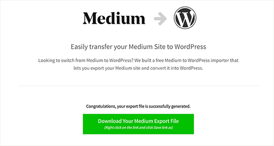 Download WordPress compatible Medium export file
