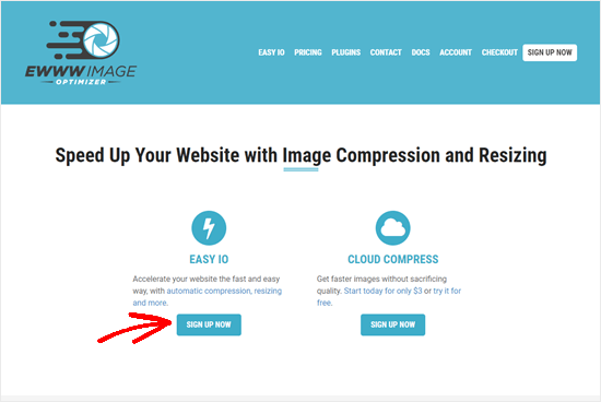 The EWWW image homepage