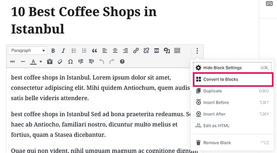 Editing old articles in new WordPress 5.0 editor
