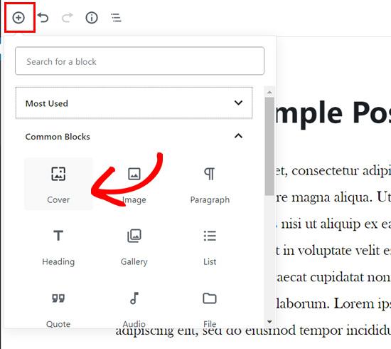Voeg een omslagblok toe in de WordPress-blokeditor