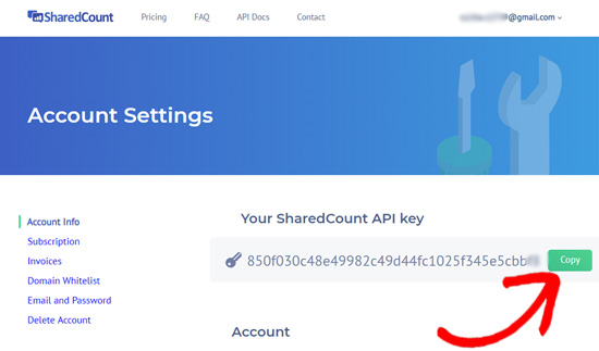 SharedCounts.com API key