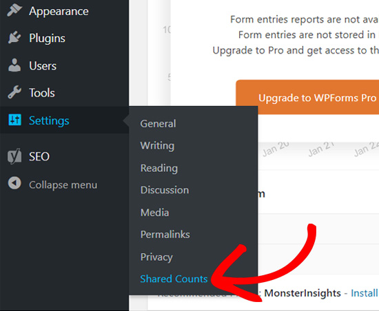 Shared Counts WordPress menu