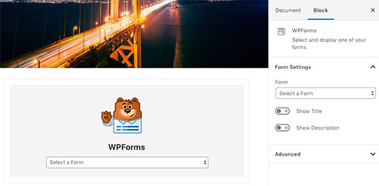 WPForms block in WordPress post